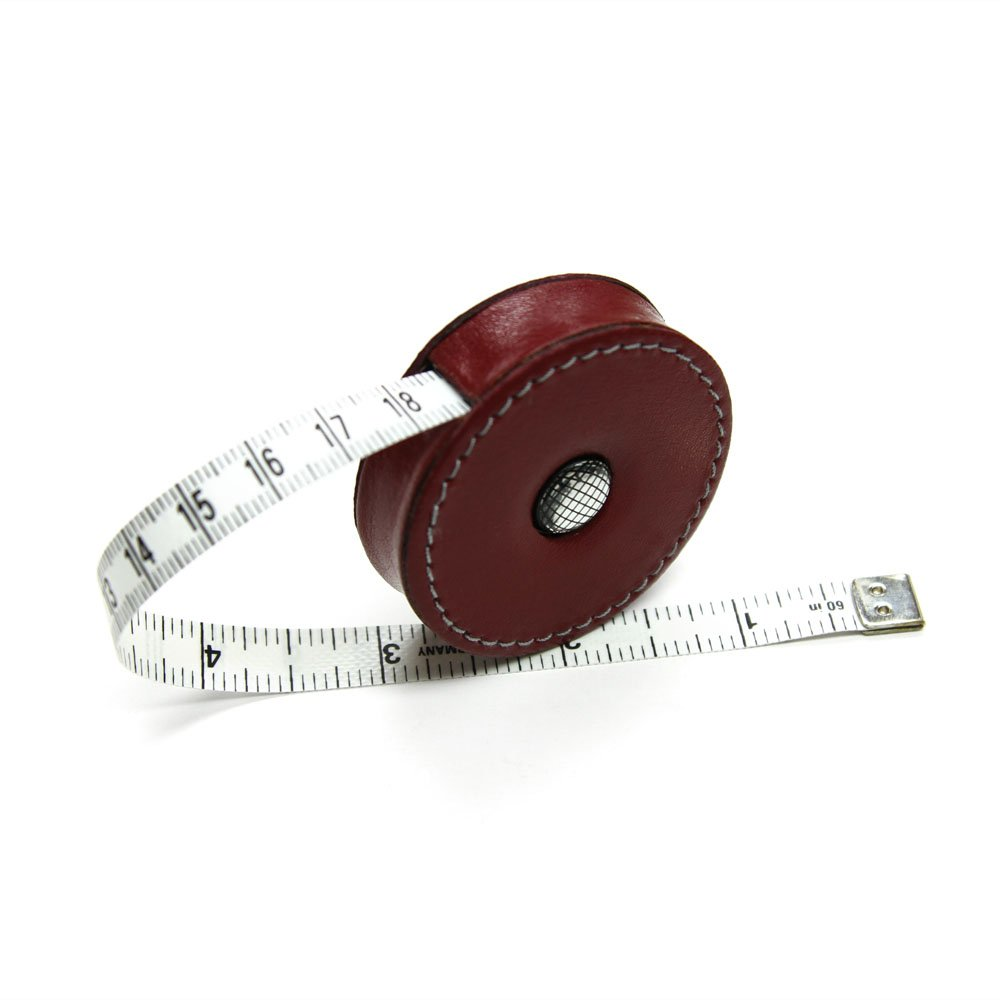 Oxblood Red Leather-Covered Retractable Tape Measure 60 Made in Germany