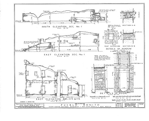 historic pictoric Structural Drawing 4. Elevations, Sections, Window Details, Door Details - Pueblo Bonito, South Terminus of NM56 & North Terminus of NM164, Nageezi, San Juan County, NM 55in x 44in
