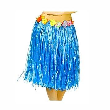 Falda Hawaiana Adulto Hula Azul (60 cm): Amazon.es: Juguetes y juegos