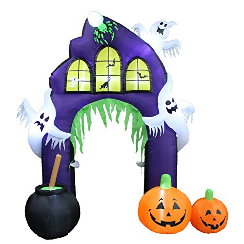 Durable The Holiday Aisle Freestanding Halloween Inflatable Castle Arch with Pumpkin and Ghost Decoration