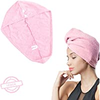 SOFTOWN 11 x 28 inch Microfiber Hair Drying Towel Turban Ultra Absorbent with 2 buttons for Long Hair (Pink)