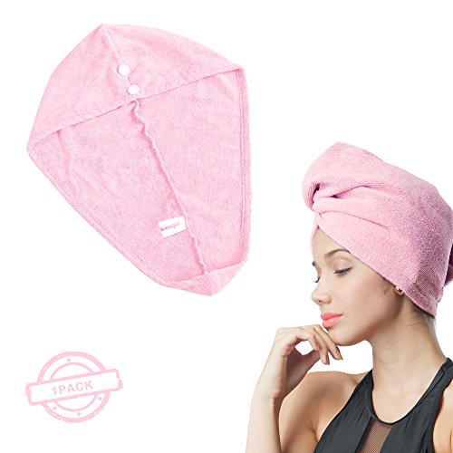 SOFTOWN Microfiber Hair Drying Towel Turban Ultra Absorbent with 2 buttons for Long Hair, 1 Pack, 11 x 28 inch, Pink