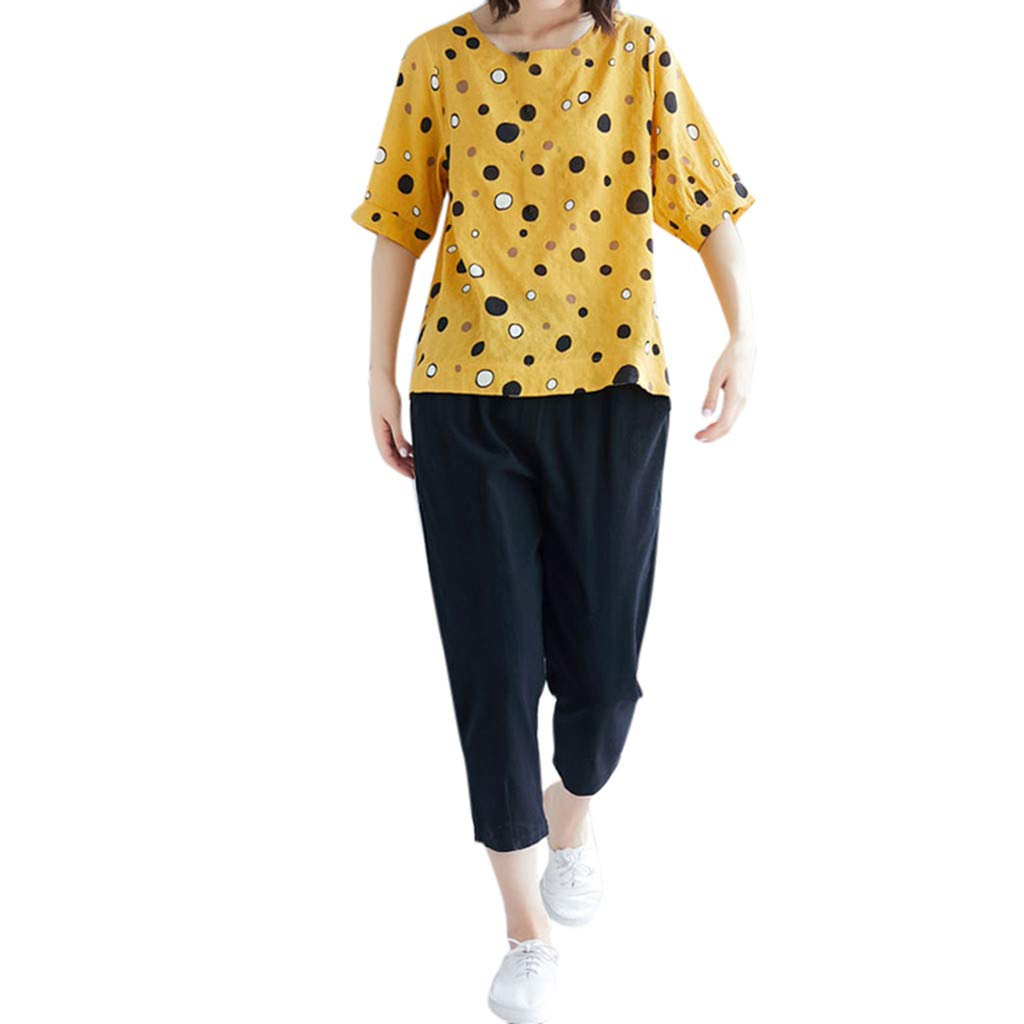 Women Loose Short Sleeve Polka Dot Tops Pants Two Piece Wave Point Above Seven Points Wide Leg Casual Sets Yellow