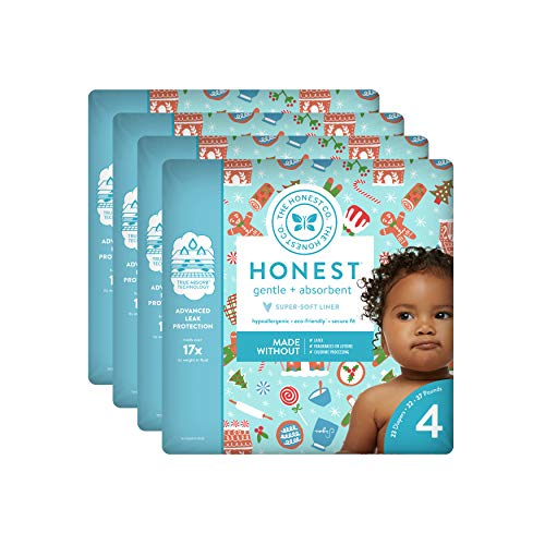 The Honest Company Baby Diapers with True Absorb Technology, Gingerbread Time, Size 4, 92 Count ()