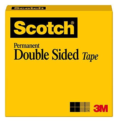 3M Scotch Cinta con adhesivo doble cara, 1.27 cm x 22.86 m