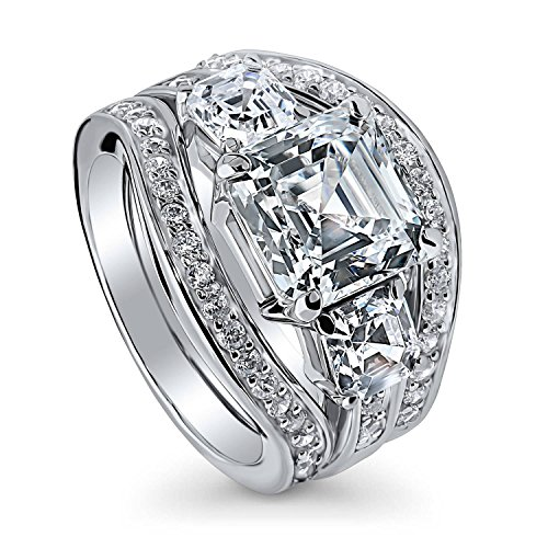 BERRICLE Rhodium Plated Sterling Silver Asscher Cut Cubic Zirconia CZ 3-Stone Anniversary Engagement Wedding Ring Set 6.14 CTW Size 7