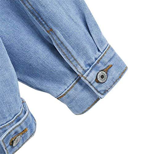 Women Outerwear Bavero Elegante Giacche Moda Jeans Donna Single Giaccone Autunno Giacca Giovane Breasted Lunga Casual Manica Scavare Tasche Anteriori Blau Di tHvvwaq