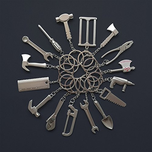 Goldengulf 16pcs/pack Pretend Play Mini Hardware Tool Metal Keychain Toy Gift Assorted Designs DIY Creative Tool Car Keyring - Metal Mini Tool