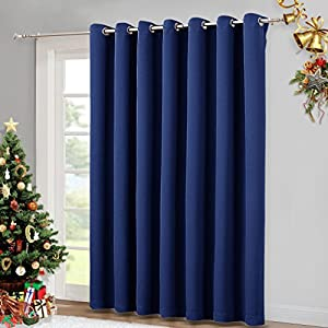 Blackout Curtain for Sliding Door - Patio Door Curtains, Thermal Insulated Wide Drapes / Draperies for Bedroom by NICETOWN (Navy Blue, 100 by 84-Inch,)
