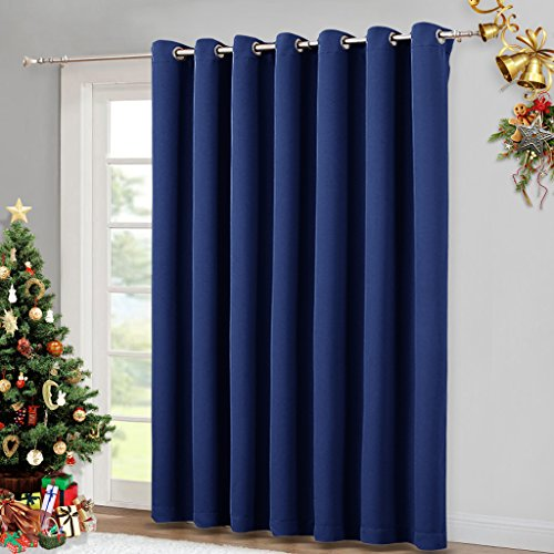 Blackout Curtain for Sliding Door - Patio Door Curtains, Thermal Insulated Wide Drapes / Draperies for Bedroom by NICETOWN (Navy Blue, 100 by 84-Inch,) (Sliding Drapes For Door Patio)