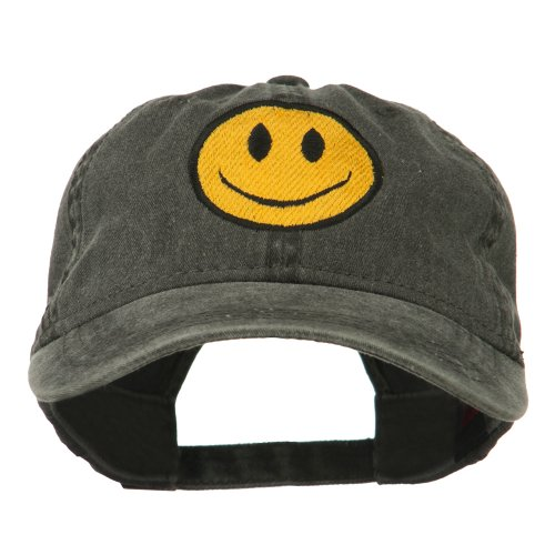 Face Happy Cap (E4hats Smiley Face Embroidered Washed Cap - Black OSFM)