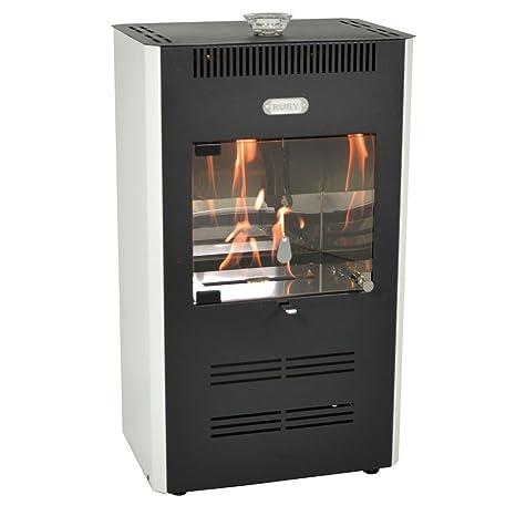 estufa de bioetanol - 3000W ventilado - blanco con control remoto - Calefacción RUBY UNIKA