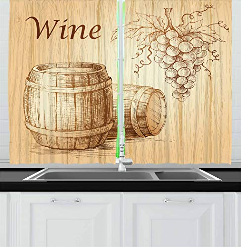 - Ambesonne Wine Kitchen Curtains, Wooden Barrels and Bunch of Grapes on Wood Backdrop Botany Harvest Theme Artwork, Window Drapes 2 Panel Set for Kitchen Cafe Decor, 55