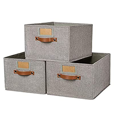 OLLVIA Large Fabric Storage Bins 3 Pack, 15.7x11.8x8.3 Foldable Storage Baskets with Labels, Decorative Storage Bins for Shelves, Rectangle Closet Baskets, Organizing Nursery for Home|Office - ✅ STURDY PREMIUM MATERIAL & NO SMELL - Our storage bins no chemical smell, environmentally friendly. This fabric storage box made of thicken cardboard frame for reinforced structure. Linen fabric sturdy but also soft, this Foldable Storage Bins set will meet your long term storage needs. ✅ LARGE CAPACITY TO STORAGE - A larger size of 15.7 (L) x 11.8 (W) x 8.3 (H) Inches allows for more storage. Larger than most collapsible bins allowing you to move more and store more. ✅ ALL SORTED - Storage Baskets With label holders helping you sort and find your summer tops in a blink, this set of 3 storage boxes will lend you a helping hand as you organize your clothes, hobby accessories or kid's toys, making your house look like it's straight from the catalogue pages - living-room-decor, living-room, baskets-storage - 51LKKL8OL7L. SS400  -