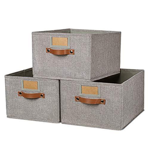 OLLVIA Large Fabric Storage Bins 3 Pack, 15.7x11.8x8.3