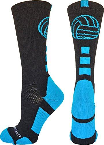 MadSportsStuff Volleyball Logo Crew Socks (Black/Electric Blue, Medium)