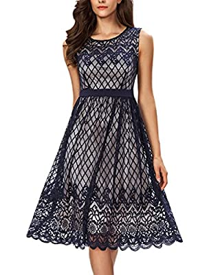 Noctflos Women's Lace Cocktail Party Casual A Line Midi Swing Tea Dress