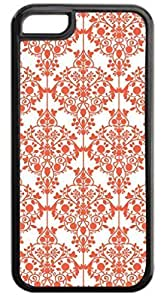 04-Floral Damask Pattern- Case for the APPLE IPHONE 5, 5s-NOT THE 5C!!!-Hard Black Plastic Outer Case with Tough Black Rubber Lining