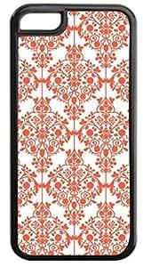 04-Floral Damask Pattern- Case for the APPLE IPHONE 5c ONLY-Hard Black Plastic Outer Case hjbrhga1544