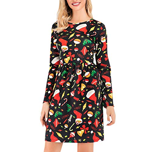Women's Long Sleeve Floral Printed Casual Swing T-Shirt Dress with Pockets (David Meister Strapless Dress)