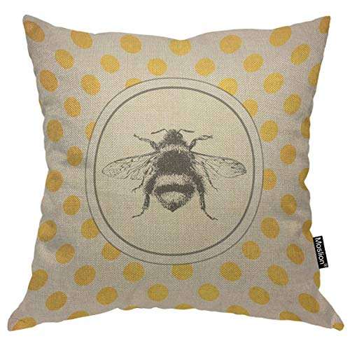 Moslion Throw Pillow Cover Bee 18x18 Inch Animal Wing Retro Vintage Polka Dots Circle Square Pillow Case Cushion Cover for Home Car Decorative Cotton Linen ()