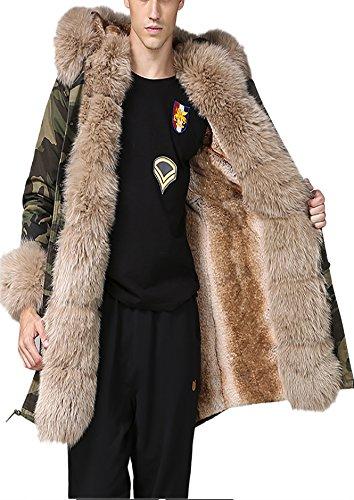 Roiii Mens Winter Warm Thick Faux Fur Lightweight Casual Waterproof Outdoor Hood Parka Long Trench Jacket Over Coat (X-Large, Beige) (Demi Fur Coat)