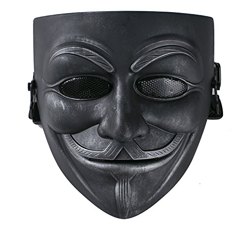 XCOSER Masquerade Anonymous V Mask Props for Halloween Costume Resin Black Grey