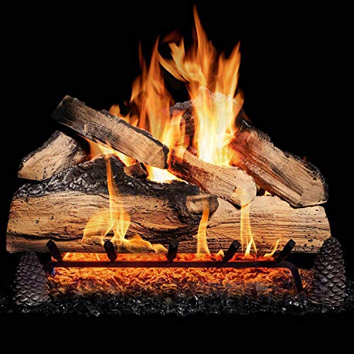 GasLogGuys 18 Inch Grand Mountain Split Oak Vented Natural Gas Log Set + H-Burner - Match Light