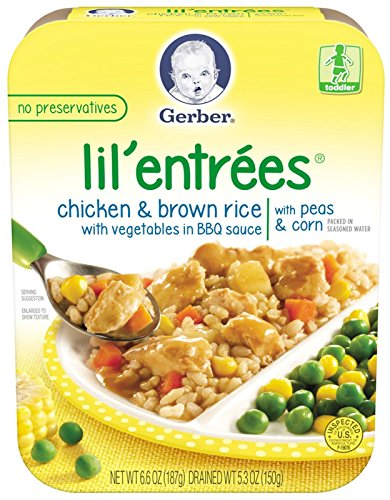 Gerber Lil' Entrees Chicken & Brown Rice with Vegetables in BBQ Sauce with Peas & Corn 6.6 oz. 1 Pack.