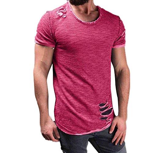 Hot Hipster - CieKen Mens Hipster Hip Hop Ripped Round Hemline Hole T Shirt (Hot Pink, Large)