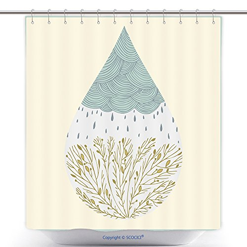 Polyester Shower Curtains Abstract Hand Drawn Drop With Clouds Rain And Trees 214328059 Polyester Bathroom Shower Curtain Set With (Little Black Rain Cloud Costume)