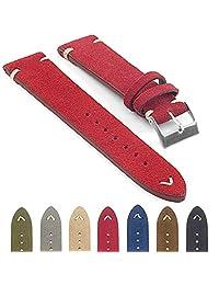 StrapsCo st15 Suede Vintage Style Watch Strap w/ Minimal Stitching in Red 20mm