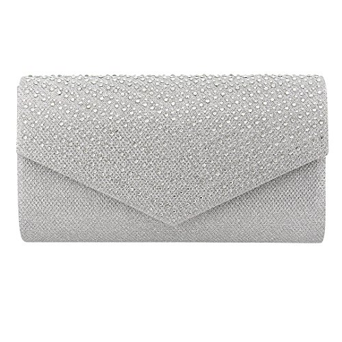 Handbag Silver Dazzling Evening Bag Liliam Women Clutch Crossbody Shoulder Messenger Party Girls 1Ta4vq