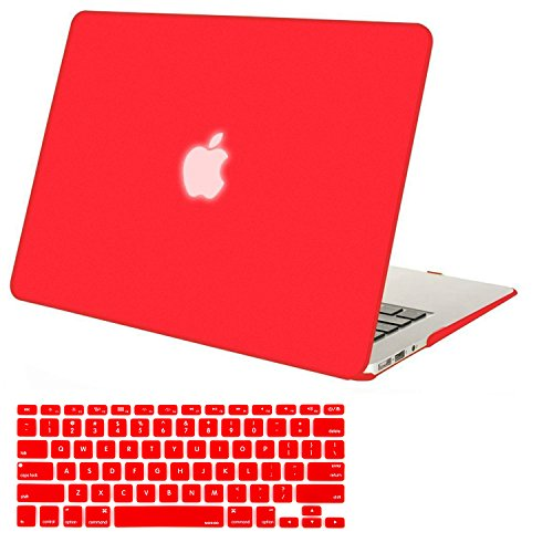 Mosiso Plastic Hard Shell Case with Keyboard Cover for MacBook Air 11 Inch (Models: A1370 and A1465), Red