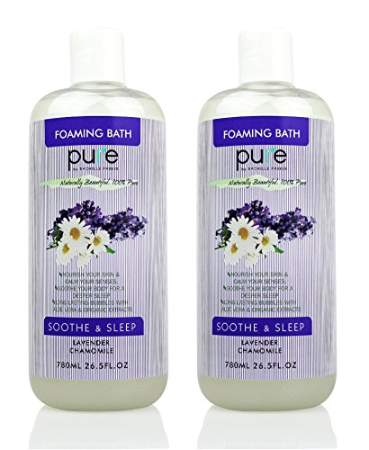 PURE Aromatherapy Lavender and Chamomile Bubble Bath, Organic Essential Oils Bath Foam - Nourishes & Soothes, 2 Large Lavender Bubble Bath is Sulfate Free with Lavender Essential (Oil Bath Foam)