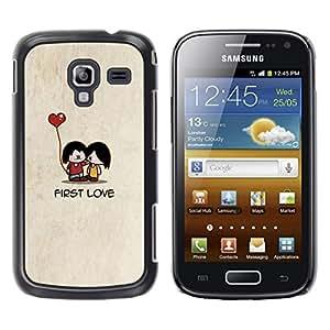 LECELL--Funda protectora / Cubierta / Piel For Samsung Galaxy Ace 2 I8160 Ace II X S7560M -- Cartoon Minimalist Beige Cute Heart --