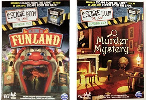 Escape Room the Game Welcome to Funland/Murder Mystery Expansion Pack Bundle (Escape The Room Stargazers Manor Board Game)