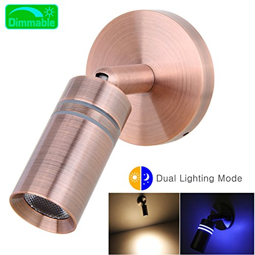 acegoo 12V RV Boat Reading Light Bedside LED Lamp Dimmable Touch Switch Machined Aluminum Brushed Copper by acegoo