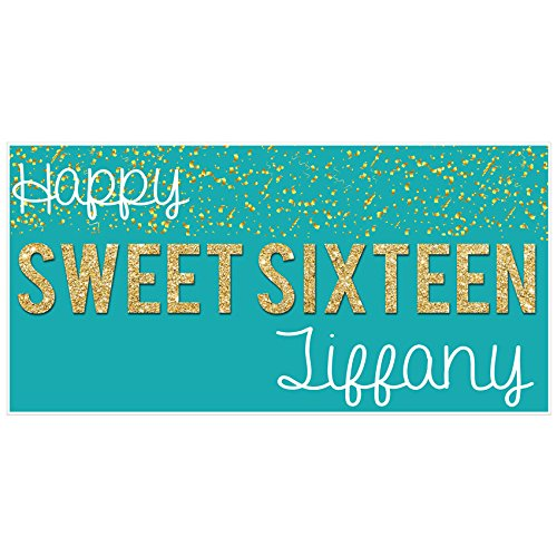 Sweet Sixteen 16 Teal and Gold Birthday Banner Personalized Party Backdrop