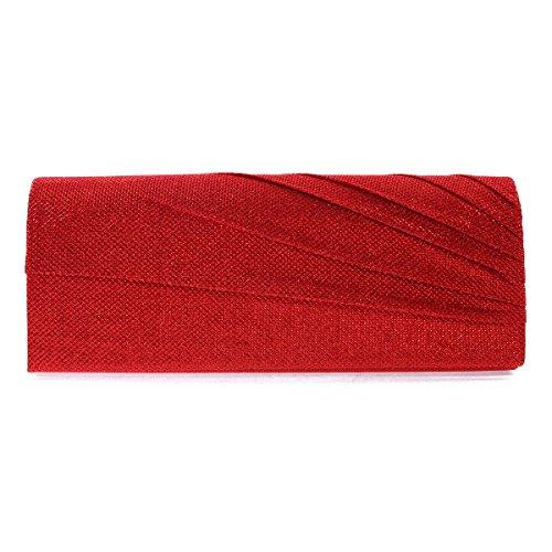 Etincelant Damara Soirée Femme De Rouge Design Beau Froncé Sac Large O1nYOx
