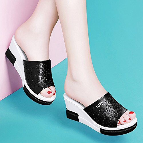 zapatillas plataforma playa de Tamaño mujeres zapatos de ZHIRONG Negro plataforma zapatos de de de de alto de Sandalias impermeable punta Color romanos verano las moda abierta tacón 7cm zapatos Blanco xwSxHfIqO
