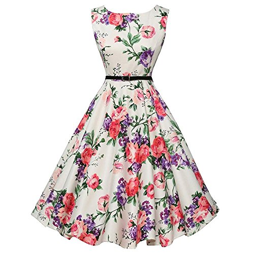 - HGWXX7 Women's Vintage Print Sleeveless Evening Party Prom Swing Dress Belt (XXL, White-Floral)