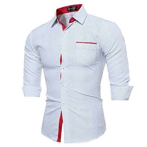 Stoota Men Long Sleeve Splice Lattice Dress Shirts,Large Size Top Blouse Shirts White