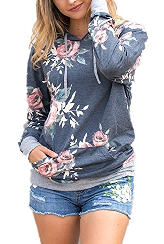 EIFFTER Women Floral Print Pullover Hoodie Casual Long Sleeve Drawstring Hooded Sweatshirt with Pocket (Large, Grey) (Long Casual Hooded Sleeve)