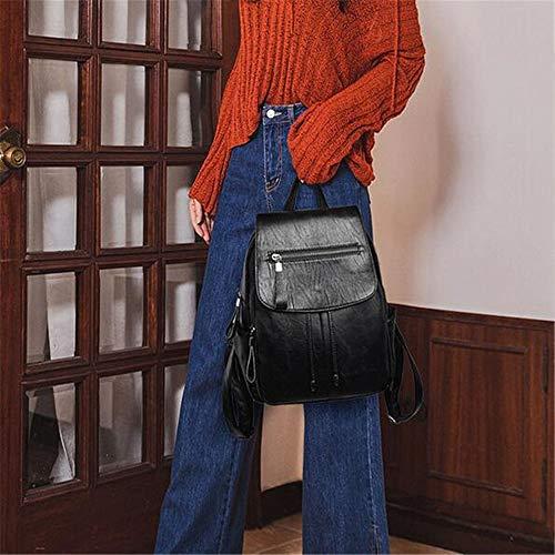 PU Black Mochila LANGUANGLIN Ladies Backpack Bag Informal Leather De Moda Travel Wild zBpaHq