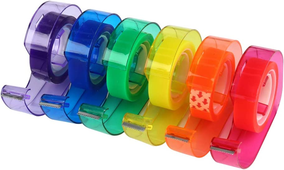 Eagle Rainbow Tape Dispenser Colored Tapes Included Home Pack of 6 School and Office Use for Arts