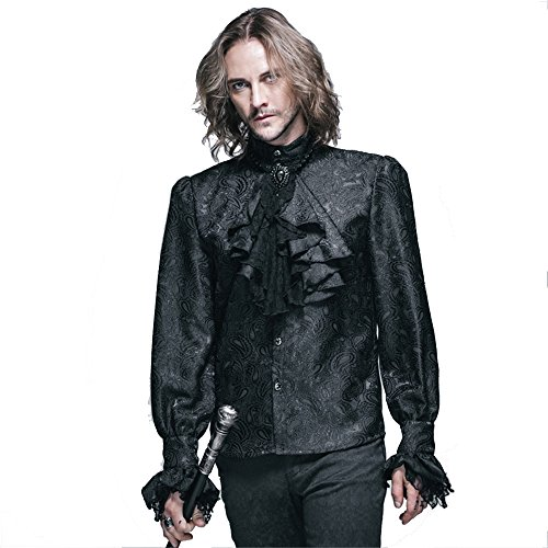 Steampunk Gothic Men Blouse Shirts Victorian Men's Long Sleeve Shirts Tops Halloween Costumes (L, (Steampunk Clothing Men)