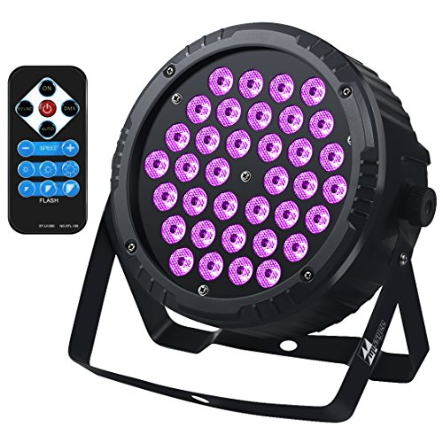 36 Leds Black Lights with IR, Missyee Sound Activated and DMX Par Can Wash UV Lighting for Home Party Disco DJ Pub Club Stage Dance Floor Show ()