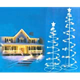 Set of 2 Multi-Color LED Lighted Outdoor Spiral Christmas Trees Yard Art 3', 4'