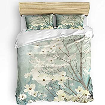 Image of Alandar Home Dogwood Blossom Floral Bedding Sets Duvet Cover 3 Pieces, Ultra Soft Bed Comforter Cover with 2 Pillowcases for Kids/Teens/Women/Men Bedroom Decoration Abstract Art Flowering Home and Kitchen